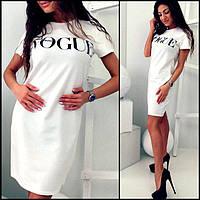 Летнее белое платье с надписью Vogue МФ149