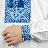 Вышиванка мужская с синим орнаментом , фото 5