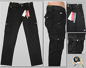Джинсы мужские ITENO оригинал с накладными карманами чёрного цвета