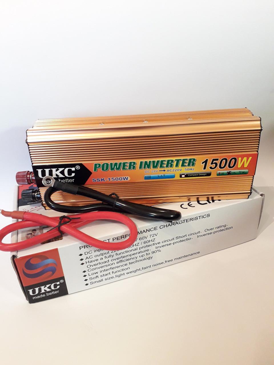 Преобразователь напряжения 24v-220v 1500W UKC