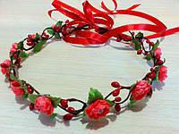 Веночек с ленточкой Алый цветок  (0060)
