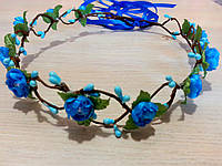 Веночек с ленточкой Голубой цветок (0059)