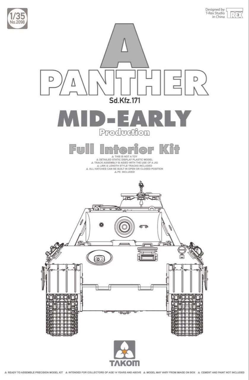 "Sd.Kfz.171 ""Panther"" A, mid-early производства с полным интерьером. 1/35 TAKOM 2098"
