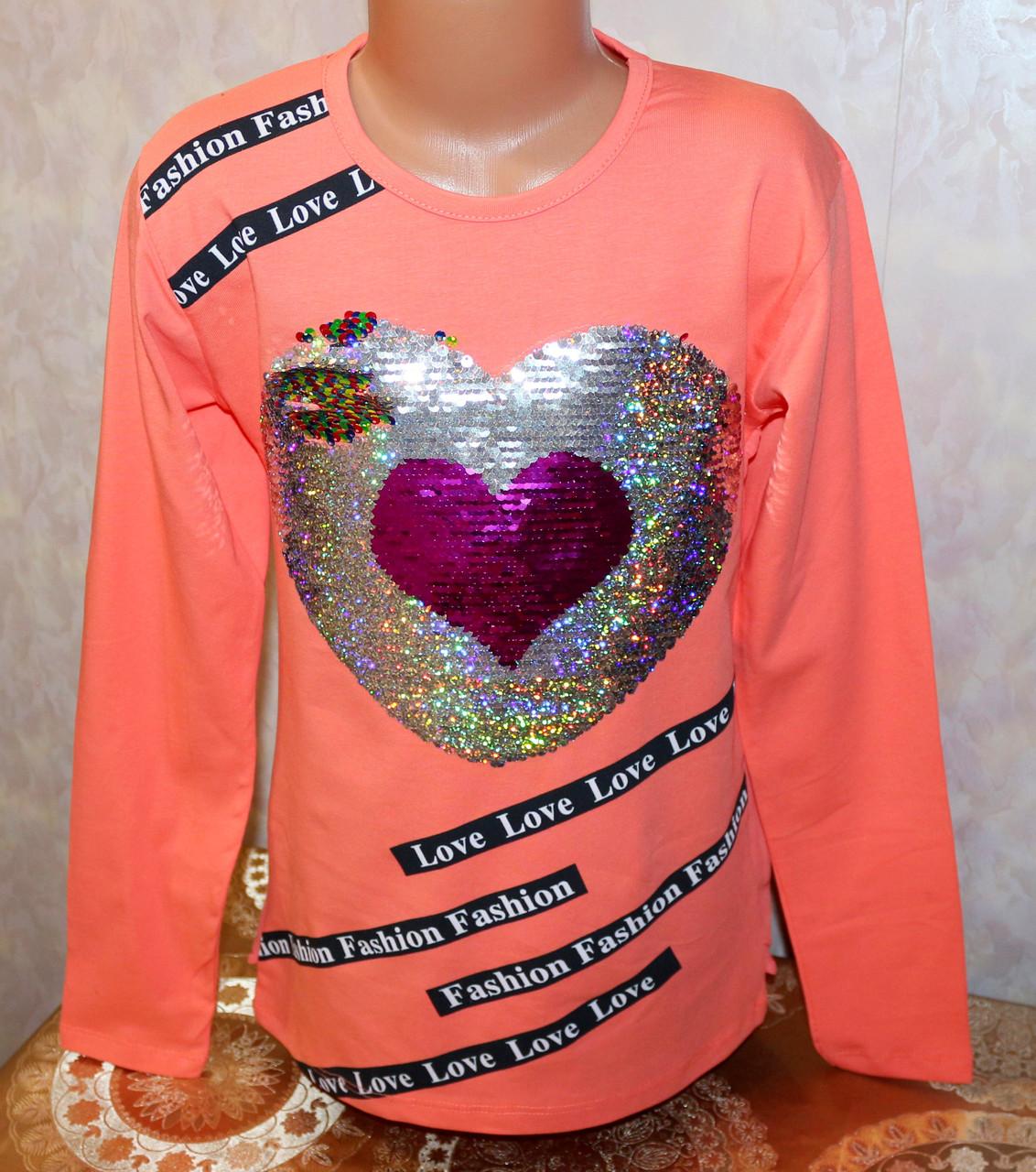 Туника на девочку с шифоновой спинкой (рисунок меняет цвет) 140,152,164,176 см