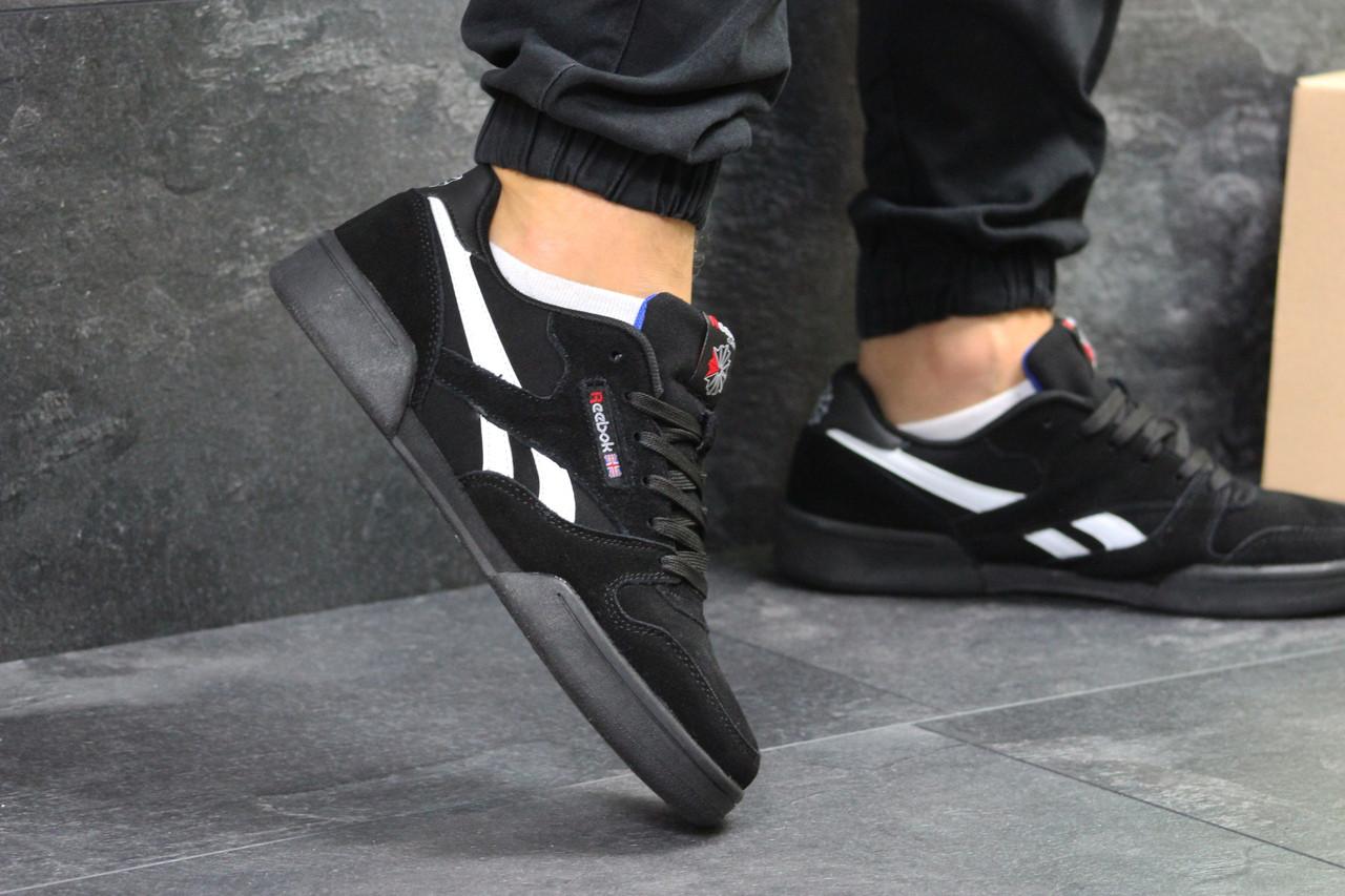 Мужские кроссовки Reebok  удобные топовые замша-резина (черные), ТОП-реплика