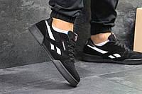 Мужские кроссовки Reebok  удобные топовые замша-резина (черные), ТОП-реплика, фото 1