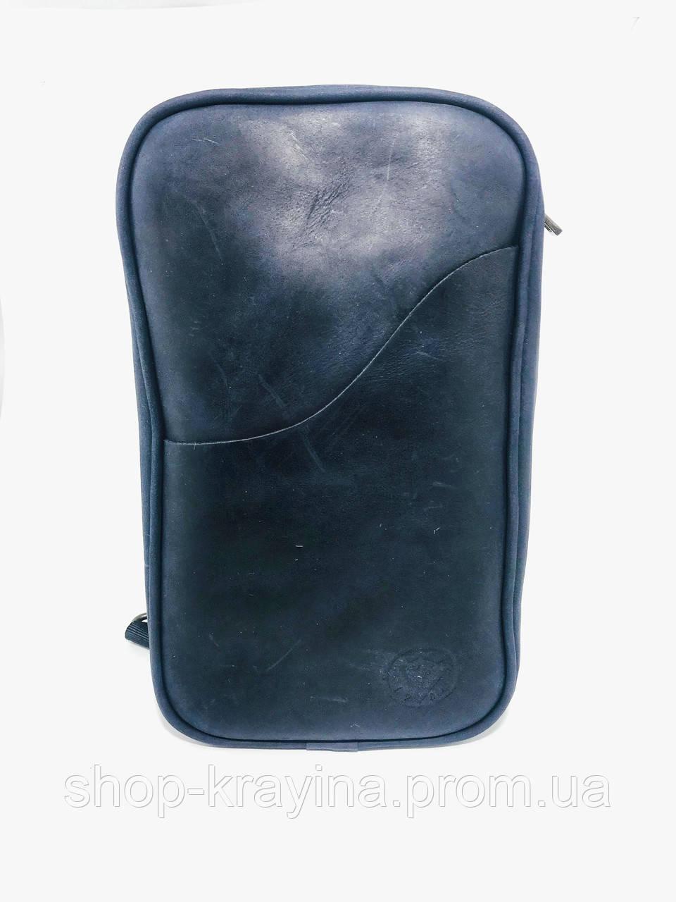 Мужская стильная сумка VS005  Crazy horse blue 26х16х8 см