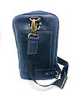 Мужская стильная сумка VS005  Crazy horse blue 26х16х8 см, фото 2