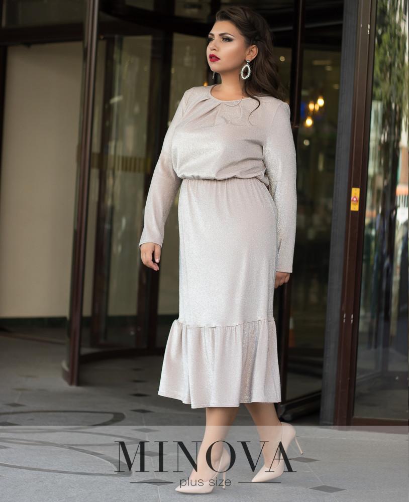 Жіноче стильне плаття Minova батальне колір кремовий розмір 50 52 54 56 58  60 - ODUVANCHYK d9857019d71e5