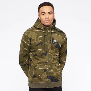 Толстовка Nike Sportswear Club Fleece Men's Full-Zip Camo Hoodie AQ0596-325 (Оригинал) , фото 2