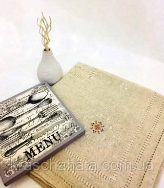 Скатерть льняная, 140х140 см, Скатерть из натурального льна с вышивкой,Эксклюзивные подарки, Столовый текстиль
