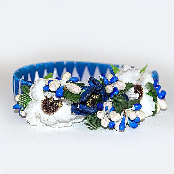 Веночек для волос Синий с белыми маками (97024)