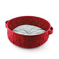 Корзинка плетенная с подушкой, бордо, Digitalwool
