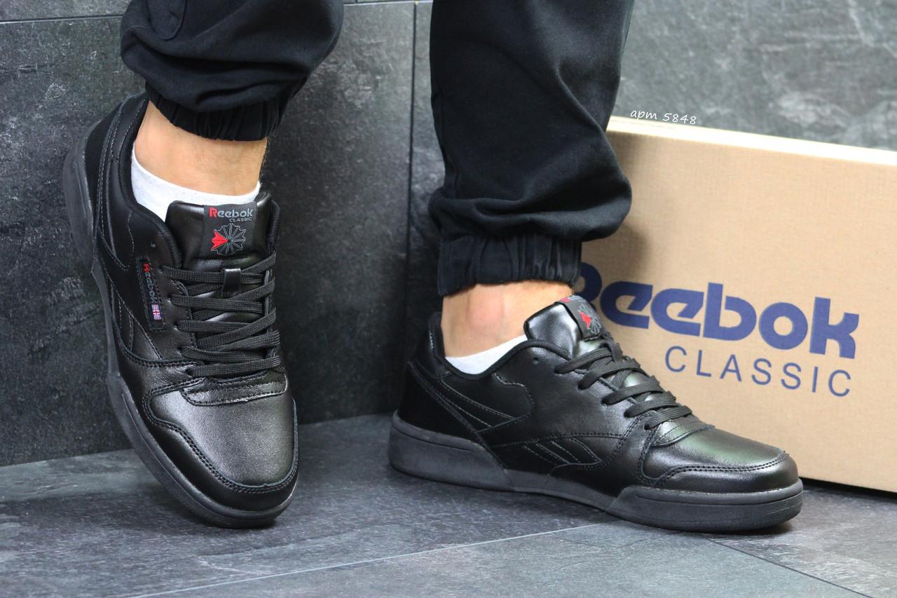 Мужские кроссовки Reebok кожаные классика непромокаемые черного цвета, ТОП-реплика