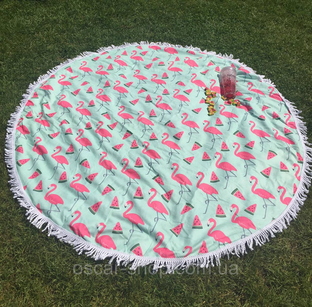 Пляжное круглое полотенце /подстилка Фламинго Мандала 165 см /полотенце на пляж /пляжный коврик /опт