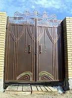 Кованые ворота.  Ворота металлические кованные. Ворота из профлиста. Ворота распашные из профнастила.