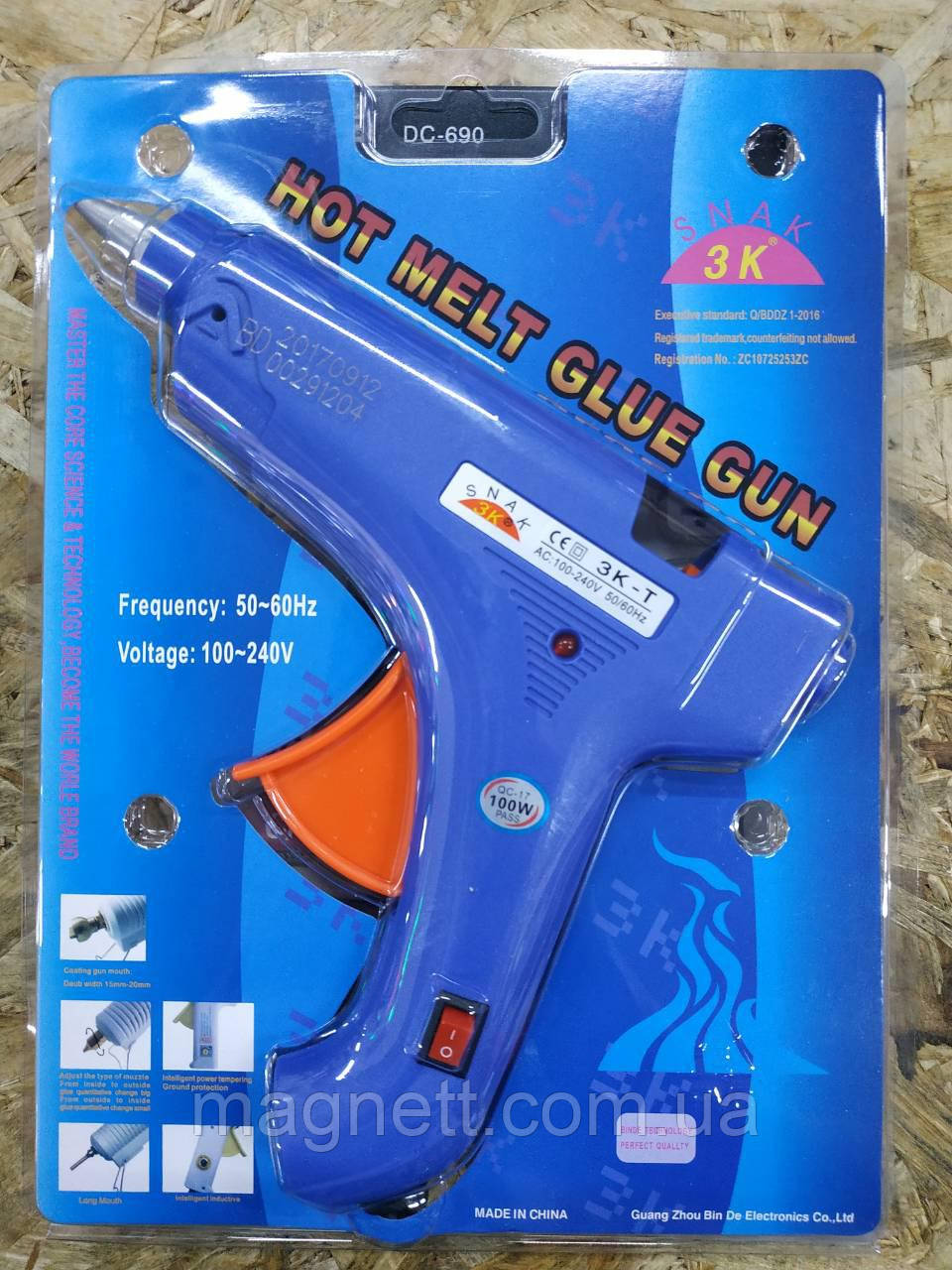 Клеевой пистолет Hot Melt Glue Gun 3K-T 80W (11 мм)