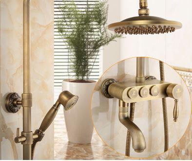 Душевая стойка со смесителем лейкой и тропическим душем бронза 0616