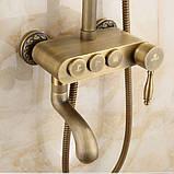 Душевая стойка со смесителем лейкой и тропическим душем бронза 0616, фото 4
