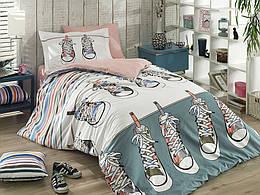 Комплект постельного белья ТМ Hobby Poplin Layla зелений 160x220/1x50x70