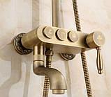 Душевая стойка со смесителем лейкой и тропическим душем бронза 0616, фото 5