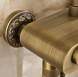 Душевая стойка со смесителем лейкой и тропическим душем бронза 0616, фото 6