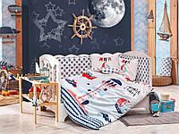 Комплект постельного белья ТМ Hobby детский Baby Sailor голубой 100x150/2x35x45
