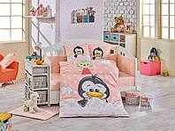 Комплект постельного белья ТМ Hobby детский Penguin персиковий 100x150/2x35x45