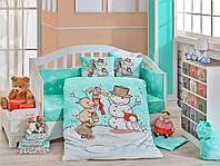 Комплект постельного белья ТМ Hobby детский Snowball мятный 100x150/2x35x45