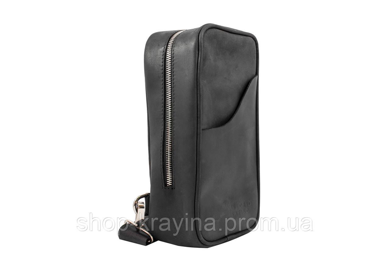 Мужская стильная сумка VS005  Crazy horse blak 26х16х8 см