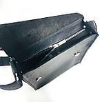 Кожаная мужская сумка VS220 Crazy horse black 24х22х6 см, фото 9