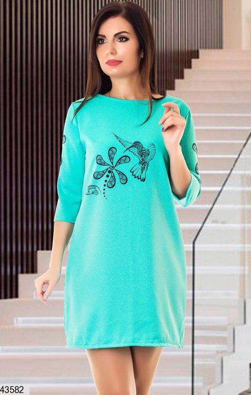 Осеннее платье мини прямого кроя рукав до локтя принт ментоловое