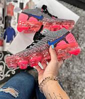 Кроссовки Nike Air VaporMax flyknit 2 grey/pink. Живое фото (Реплика ААА+)