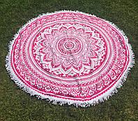 Пляжное круглое полотенце / подстилка Мандала 165 см / полотенце на пляж / пляжный коврик махра /опт, фото 1