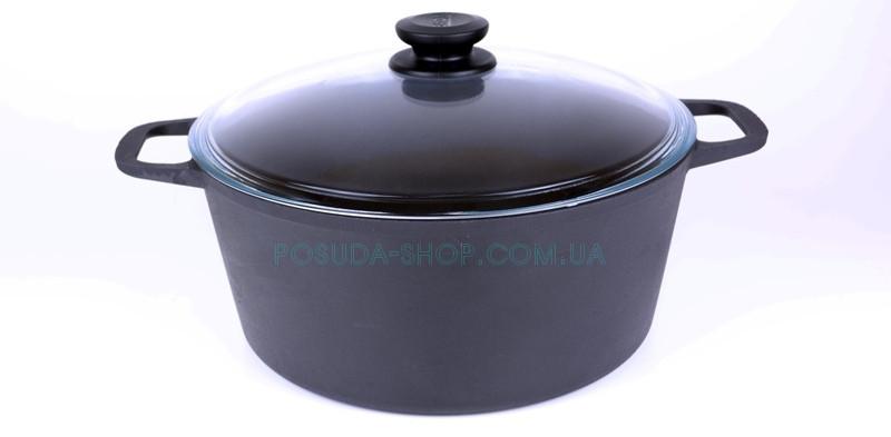 Чугунная кастрюля Биол со стеклянной крышкой 5 л. (0805с)