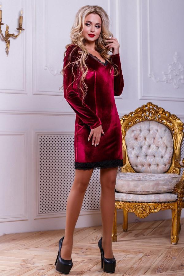 Велюровое мини платье цвета марсала Д-1611