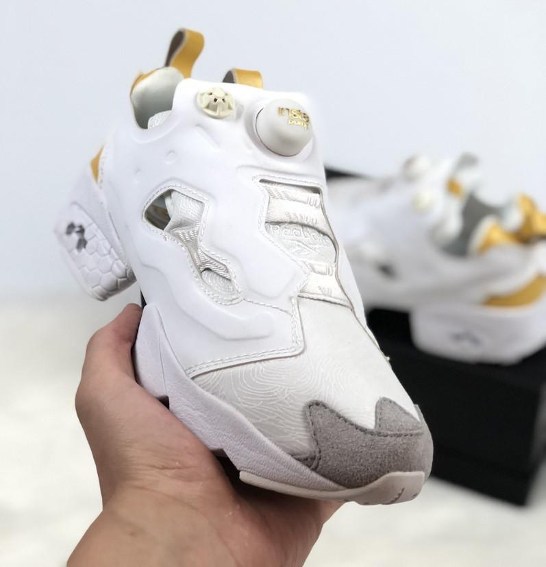 Женские кроссовки Reebok Classic Insta Pump Fury white gold. Живое фото  (Реплика ААА+ fb785552ab79f