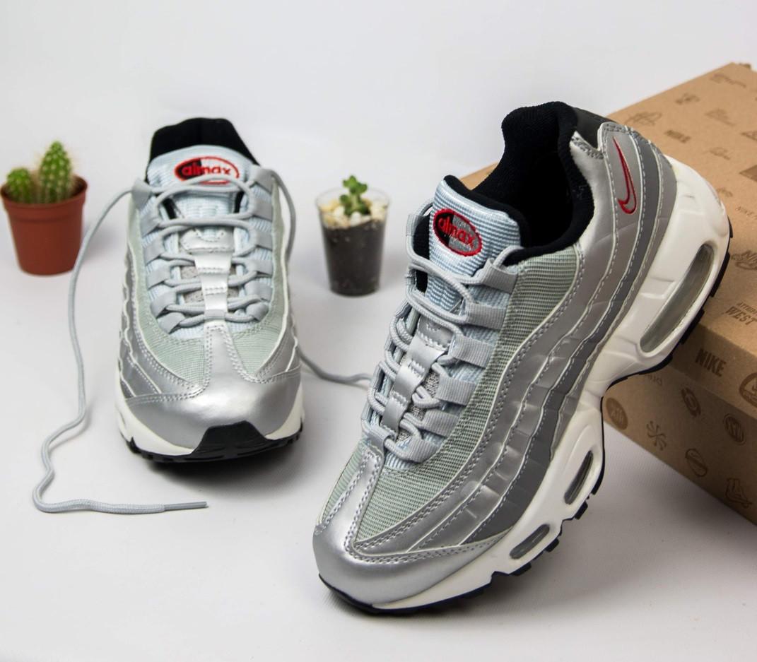 0b249b52 Женские кроссовки Nike Air Max 95 Silver. Живое фото. Топ качество! (Реплика