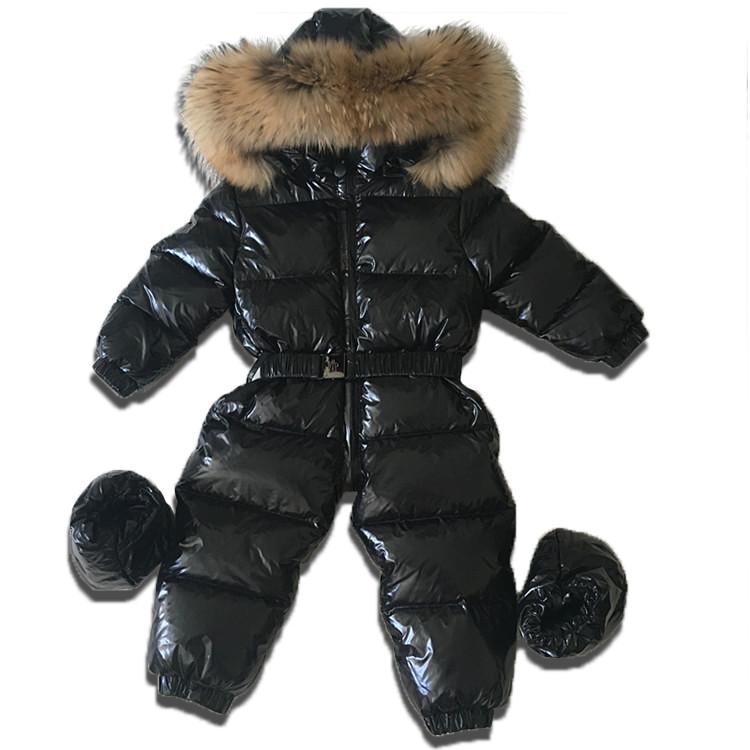 Детский зимний комбинезон цельный черный