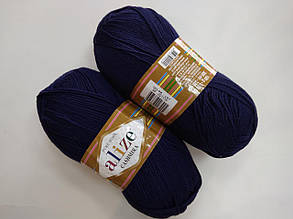 Пряжа для вязания Кашемир ALIZE синий темный