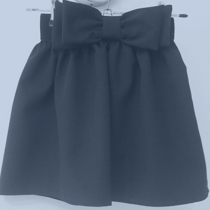 Красивая юбка школьная с двойным бантом-синяя