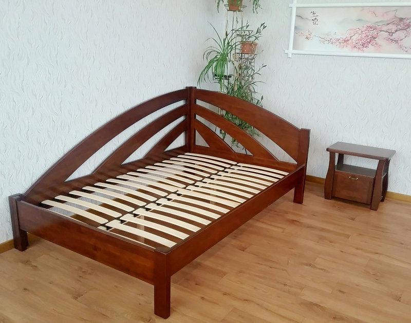 Кутова дерев'яна ліжко-тахта Веселка