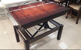 Кухонный стол трансформер Флай венге со стеклом