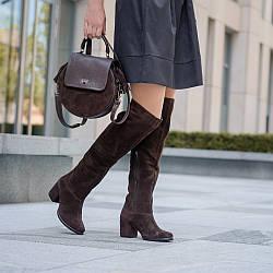 Замшевые  женские сапоги шоколадного цвета. Натуральная замша. Зима, деми. Пошив на любую голень.