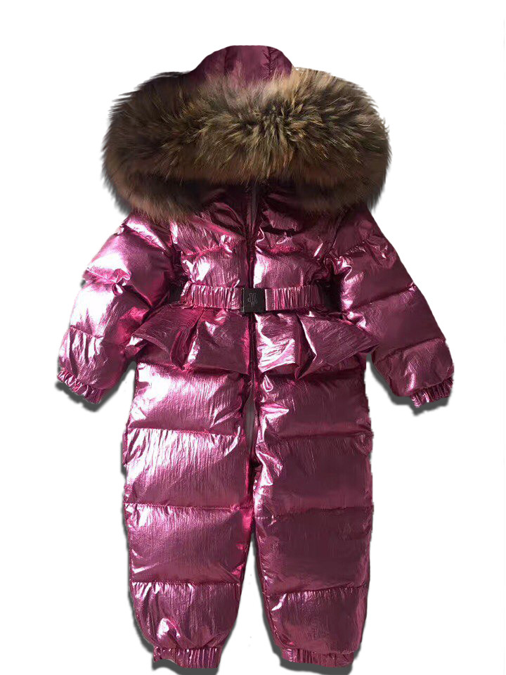 Детский зимний комбинезон цельный розовый  металлик с юбочкой
