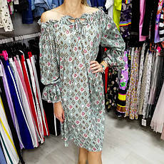 Платье шифон длинный рукав хаки- 524-1804-1, фото 2
