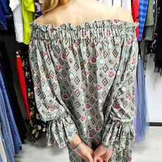 Платье шифон длинный рукав хаки- 524-1804-1, фото 3