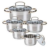 Набор посуды Maestro MR-3516-10, 10 предметов, нержавеющая сталь, золотые ручки | кастрюли Маэстро, Маестро