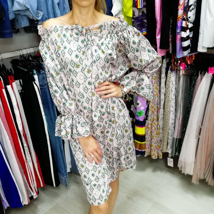 Платье шифон длинный рукав розовое- 524-1804-2