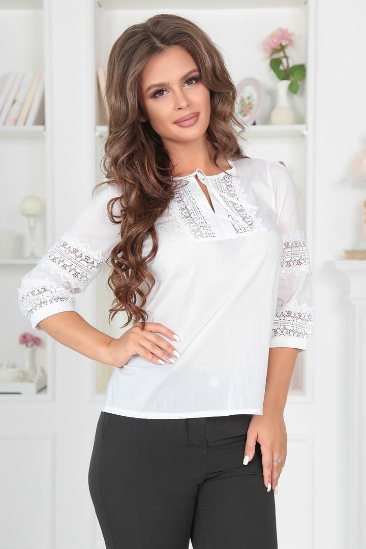 7bcd59dbbfe Женская блуза белая с кружевом  продажа